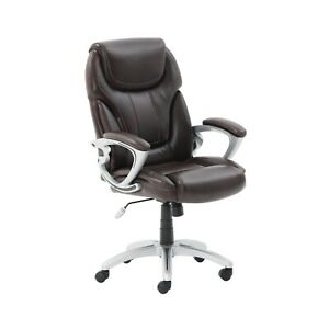 High Back Brown Leather Office Chair Executive Office Desk Task Computer Chair