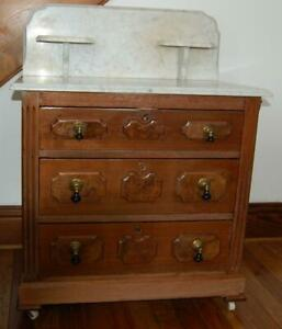 Antique Walnut Washstand With Marble Top