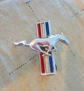 Vintage Mustang Logo Emblem Badge Red White And Blue Chrome Oem Ford Emblem
