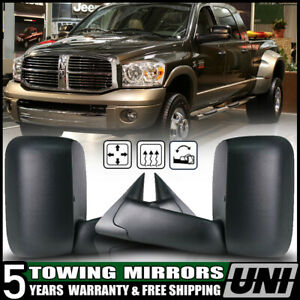 Black Power Heated Flip Up Tow Mirrors For 98 01 Dodge Ram 1500 02 2500 3500 L R