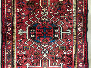 2x14 Antique Heriz Runner Persian Rug Hand Knotted Caucasian Oriental 3x14 2x13
