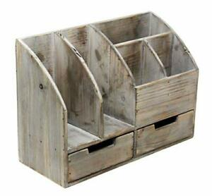 Vintage Rustic Wooden Office Desk Organizer Book Shelf For Desktop