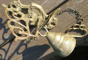Vintage Ornate Solid Brass Dinner Door Bell Wall Mount W Pull Chain Art Deco