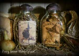 Primitive Halloween Witch S Pantry Glass Herb Jars With Shoo Fly Dome Metal Lids