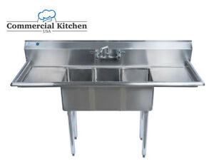 Stainless Steel 3 Compartment Sink 60 X 20 W 2 Drainboards Nsf Cert Bundle
