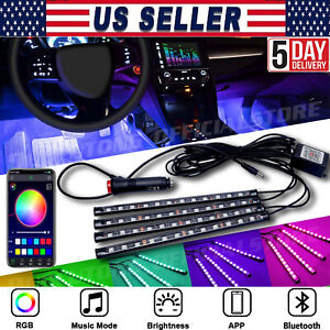 48led Pink Car Interior Floor Strip Lights Atmosphere Light Accessories Lamp Usa
