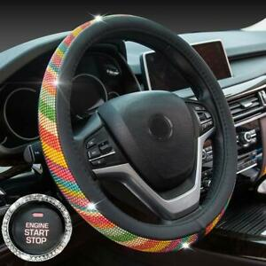 Crystal Diamond Steering Wheel Cover Pu Leather With Colorful Bling Bling Rhine