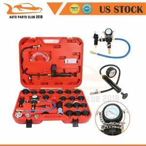 28pcs Radiator Adapters Pressure Tester Test Kit Coolant Vacuum Purge Refill New