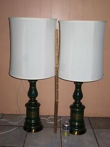 Pair Vintage Midcentury Retro Rembrandt Style Table Lamp No Shades