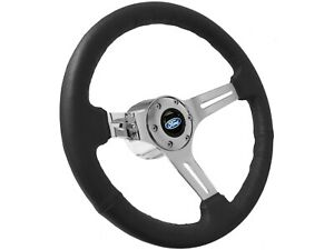 S6 Black Leather Steering Wheel Chrome Kit Ford Blue Oval Emblem Flaming River