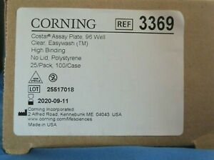 25 Corning Assay Plates 96 well Eia ria Polystyrene Microplate 75 To 200ul 3369