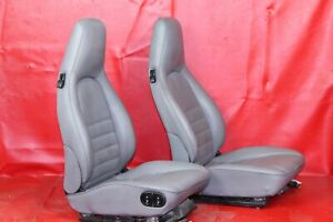 Porsche 911 944 964 Early 968 Grey Leather Power Crested Seat Set
