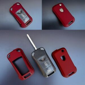Porsche Metallic Red Remote Flip Key Cover Case Shell Cap Fob Protection Hull