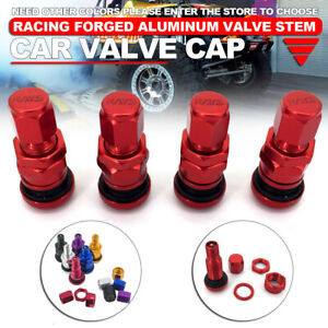 4 Pcs Red Rays Volk Racing Forged Aluminum Valve Stem Caps Wheels Rims Universal