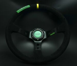 350mm Suede Leather Deep Dish Steering Wheel Drifting Black Spoke For Momo Hub