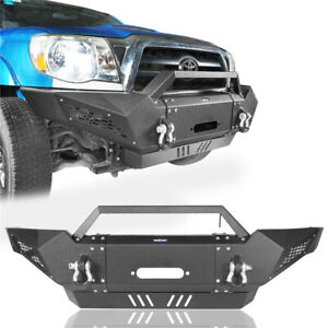 Front Bumper W Winch Plate led Spotlights D rings For Toyota Tacoma 2005 2015