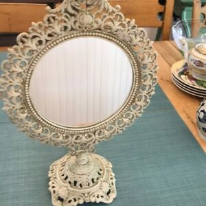 Vintage Shabby Chic Stand Up Vanity Mirror 17 Inches