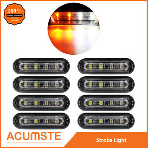 8pc Super Bright 4 Led Waterproof Car Truck Flash Strobe Light Drl Amber white