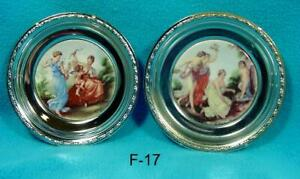 F 17 Vintage Pictures Ceramic In Plated Frames 4 1 2 Early Scenes