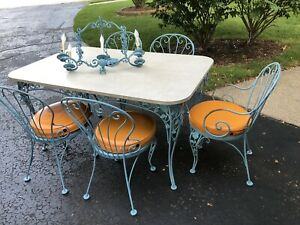 Vintage Wrought Iron Table Chairs Chandelier Set Tiffany Blue Dining Mid Century