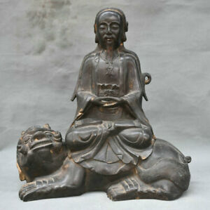 13 Old Chinese Taoism Bronze Xuanwu Emperor Rycunhua On Lion Statue Sculpture