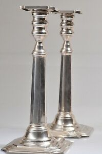 2 Vintage Hallmarked Sterling Silver Candlestick Holders 10 Tall