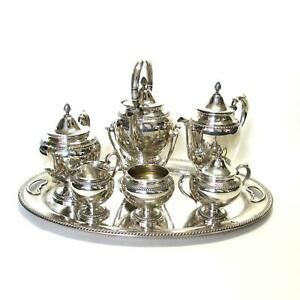 Gorham 7 Pc Sterling Silver Tea Set W Water Kettle Solid 22 1 4 Tray 165 Ozt