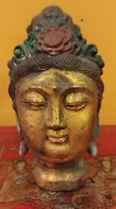 Antique Chinese Cast Copper Guan Yin Head With Floral Crown Mid Late 19th C