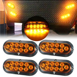 4x10 Led 6 Yellow Oval Surface Mount Brake Stop Tail Light Car Truck Trailer Us
