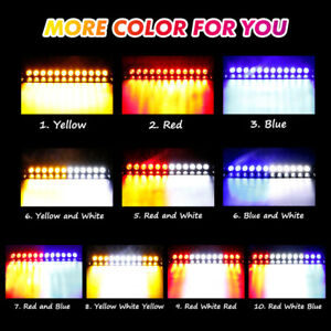 12 Led Car Windshield Strobe Light Emergency Visor Warning Lamps Red White Blue