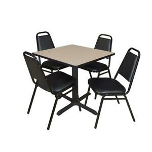 Cain 30in Square Breakroom Table Beige 4 Restaurant Stack Chairs Black