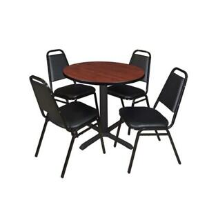 Cain 30in Round Breakroom Table Cherry 4 Restaurant Stack Chairs Black
