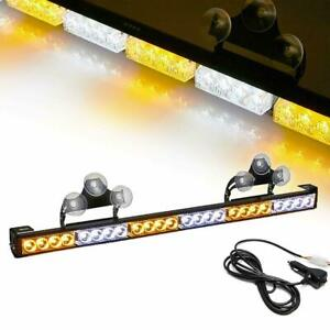 24 Led Traffic Advisor Emergency Hazard Warning Strobe Light Bar Amber White 27