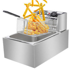 2500w 6l Commercial Electric Deep Fryer Restaurant Stainless Steel 6 3qt New