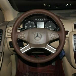 Anti Slip Brown Leather Steering Wheel Stitch On Wrap Cover For Benz R350