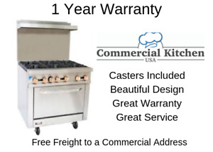 Copper Beech Cbr 6 6 Burner Gas Commercial Range Oven 1 Year Warranty W Casters