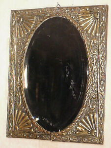 Antique Dutch Copper Vintage Repouse Jugenstil Brass Hall Wall Mirror Glass Art