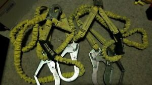 Web Devices 6 Foot Double Lanyard Fall Arrest System Rebar Hooks Yellow Set Of 2