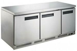 Dukers Duc72r 18 9 Cu Ft 3 door Undercounter Commercial Refrigerator Stainless