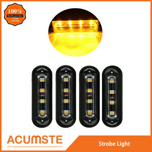 4pc Super Bright 4 Led Waterproof Car Truck Flash Strobe Light Bar Drl Amber Us