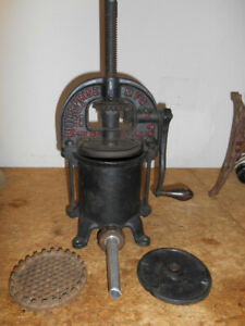 Antique Cast Iron Enterprise Sausage Stuffer Fruit Press 2 Qt Acc 1876