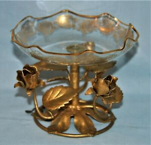 Italian Tole Vintage Gold Gilt Rose Dish Compote