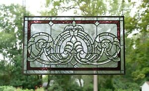 Handcrafted Stained Glass Clear Beveled Window Panel 34 75 W X 20 5 H