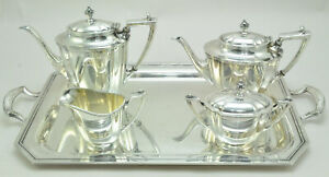 Wallace Nancy Deane N6693 Four Piece Silver Plate Tea Set With Tray