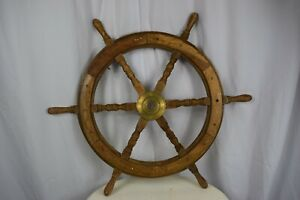 Vintage Boat Ship Wheel Brass Ring Wooden Steering 30 Inches