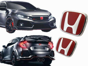 2x Jdm Red H Front And Rear Emblem Badge Fit For Honda Civic 2016 2019 4 Door
