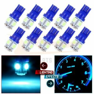 10x Ice Blue Led Instrument Dash Cluster Light Bulbs T10 194 158 2825 For Chevy
