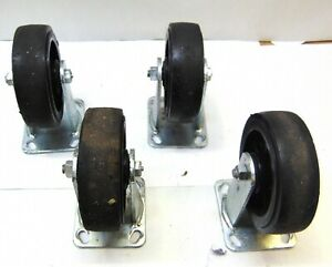 Lot Of 4 Rigid Casters 6 Od 2 Wide 7 1 2 Tall Mounting Plate 4 1 2 X 4