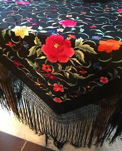 Antique 1920 30s Brightly Embroidered Black Piano Shawl Long Knotted 17 Fringe