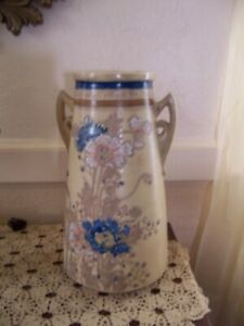 Antique Satsuma Large Pottery Vase Raised Enamel Flowers 2 Handle Vase